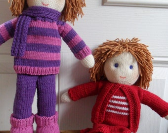 Doll Knitting Pattern   Betty & Peggy Instant Download