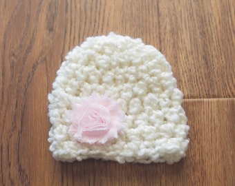 Girl Newborn Hat, Baby Girl Hat, Baby Hat, Girl Crochet Hat, Newborn Hat, Cream and Pink Hat, Newborn Photography Prop, Baby Girl Beanie