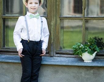 Mint bow tie - Boys pre tied bow tie - linen bow tie - Pastel green bow tie - Baby boy bow tie - Toddler bow tie - Mint  Man bowtie