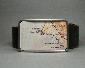 Belt Buckle Point Sur California Vintage Map Unique for Men or Women