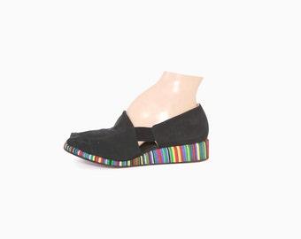 Vintage 40s WEDGES / 1940s Black Peep Toe Jewel Tone Striped Wedge Heels Slippers 8 1/2