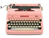 RESERVED / 1956 Pink Royal Quiet De Luxe Typewriter, Professionally Serviced, Pink Typewriter, Royal Typewriter, Working Typewriter