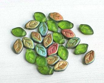 25 Czech Glass Beads 12mm x 7mm Pressed Glass Leaf Shape - CB173