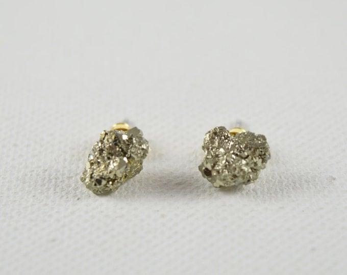 Pyrite Earrings, Raw Pyrite Earring Studs, Fools Gold Earrings, Boho jewelry, Raw Crystal Earrings