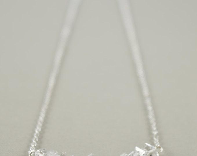Herkimer Diamond Gemstone Bar Necklace