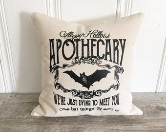 Halloween Pillow Cover Sleepy Hollow Pillow Case Fall Pillow Autumn Pillow Rustic Farmhouse Decor Halloween Throw Pillow Halloween Bat