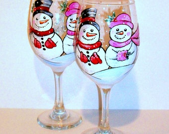Snowman Hand Painted Wine Glasses Set of  2 - 20 oz. White Wine Glasses Mr. & Mrs.- Christmas Trees Red Green Blue Christmas Wedding Names