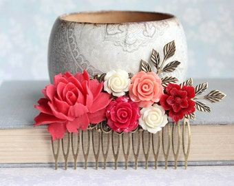 Red Rose Hair Comb Big Floral Hair Piece Bright Colorful Wedding Floral Bridal Hair Comb Lipstick Red Coral Rose Poppy Red Flowers for Hair