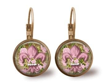Fleur de Lis Earrings Tile Earrings Fleur de lis Jewelry Brass Earrings Brass Jewelry Pink Earrings Tile Jewelry Pink Jewelry Brass Jewelry