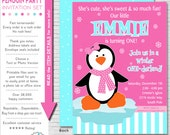 Winter ONEderland Invitation | Winter Onederland Party Invitation Printable | Girl Penguin Birthday Invitation | Amanda's Parties To Go