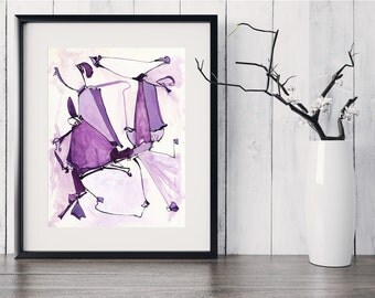 Fine Art Print, Large Abstract Purple Painting, Original Painting, Abstract Art, Acrylic Ink Painting, Purple Painting, Whimsical Art GICLEE