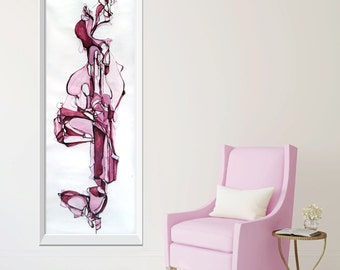 Large ORIGINAL Abstract Painting, Red Pink Mauve Burgundy Wine Abstract Painting, Abstract Pink Drip Painting, Whimsical Abstract Art