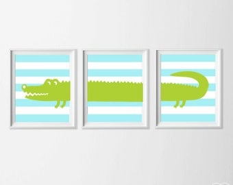 Boy Nursery Art, Safari Alligator Nursery Wall Art, Lime Blue Alligator Set of 3, Safari Kids Decor Alligator, Zoo Nursery Alligator Art