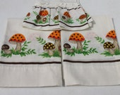 RESERVED FOR BRYAN - Vintage Mushroom Fungi Valance & Swag Curtain Set 70s Sears