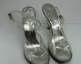 Vintage Clear Plastic Lucite Rhinestones Peep Toe Sling Back Women's Shoes 50s Rockabilly Pinup Bridal Prom Pageant Size 7-7 1/2 Jacqueline