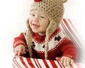 Baby Reindeer Hat -Baby Hat -  Reindeer Hat - Christmas Baby Photo Prop Hat- Boy Reindeer Hat - Girl Reindeer Hat  by JoJosBootique