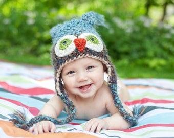 Boy Baby Hat - Baby Owl Hat - Owl Hat - Boy Owl Hat - Owl Photo Prop Hat - Owl Shower Gift Hat - Boy Owl Costume Hat - by JoJosBootique