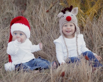 Hats - Santa and Reindeer Baby Hats - Mix and Match Sizes - Newborn to Adult Sizes - Twin Christmas Hat Set - Toddler Hats