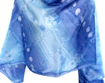 Blue Scarf Watercolor scarf Indian Silk Scarf Gift for friend Blue silk scarf Women scarf Handpainted Silk Scarf Unique scarf Made in Canada