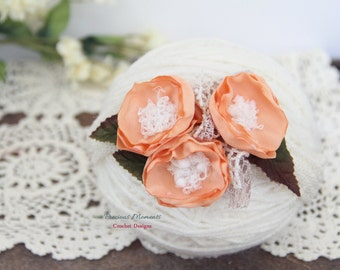 Newborn Tieback, Apricot Bloom Tieback, Newborn Tie Back Headband, Vintage Headband, Flower Tieback, Newborn Photo Prop, Newborn Halo