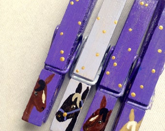 HORSE CLOTHESPINS hand painted magnetic purple and gold