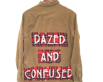 Dazed and Confused Shirt in Brown Corduroy. Red plaid, Led Zeppelin, grunge cord beige, bleach dyed, unisex, OOAK, 70s rock, hipster goth