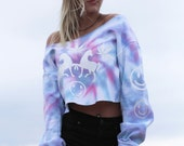 Pastel Hologram Tie Dyed Unicorn Crop Top Sweatshirt