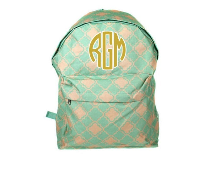 Teal Coral Quatrefoil Personalized School Backpack, Travel Backpacks, Monogram Back Pack, School Bag Rucksack personalized toddler backpacks
