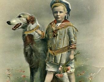 Vintage Postcard - Young Boy with Dog Foreign  Postcard. Dog Ephemera, Collectible
