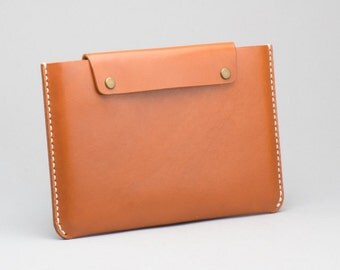 Personalized Name Leather iPad Pro 9.7 inch Sleeve / Case / Clutch with Back Pocket, Rust Brown, Monogram name, Hand Stitched by HarLex