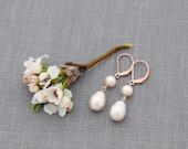Drop Earrings, Rose Gold Pearl Dangles, Bridesmaid, Bridal Jewelry, Dainty Rose Gold Drops