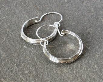Small Hoop Dangle Earrings Modern Design Linear Cross Pattern Brushed and Shiny Finish