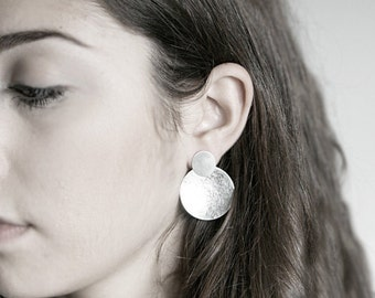Silver Dome Pendulum Earrings Hammered Bold Statement Modern Design