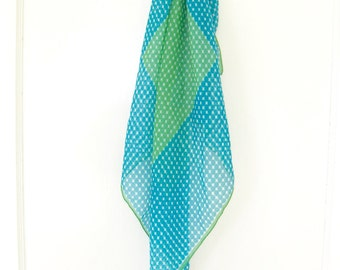 Vintage 1970s Morsly Scarf // Mod Scarf // Turquoise and Green // Polka Dots // Made in Italy