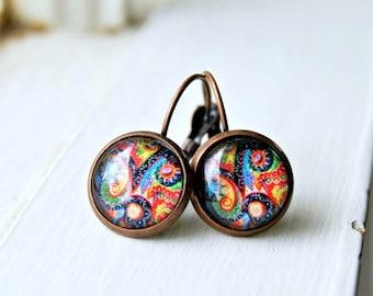 paisley drop earrings, lever back, colorful, boho, bohemian, psychadelic, cabochon