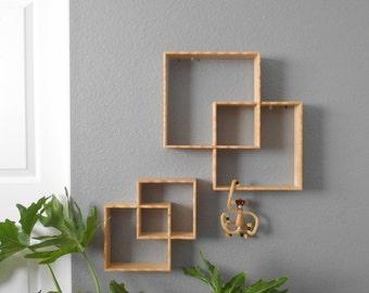 vintage interlocking cubed wooden shelf display / interlocked wall hanging rack / shadow box