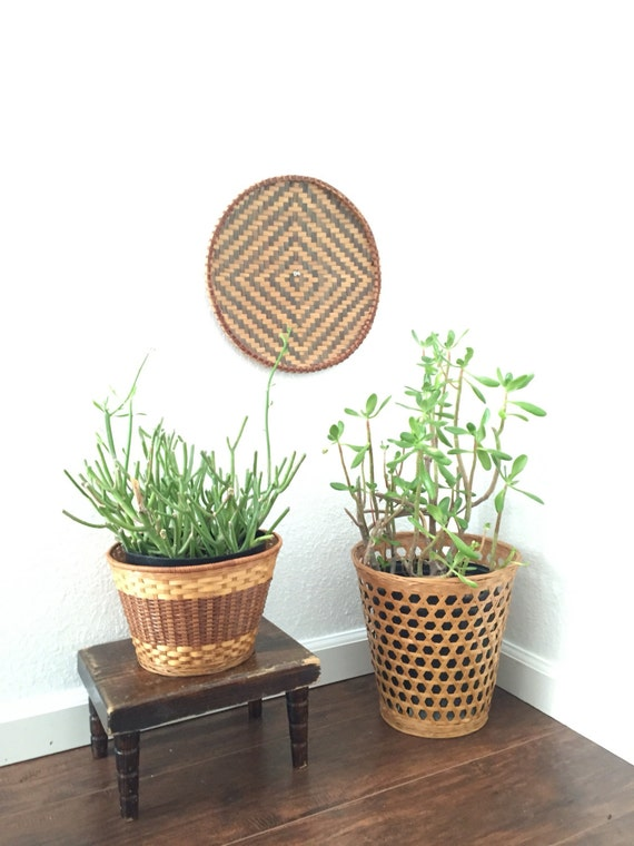 primitive solid wood floor stool / plant stand