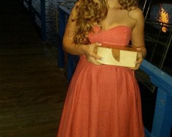 Bellisima Sweetheart Strapless Pinup Dress Day Dress Cocktail 50s Dress Polkadot Dress