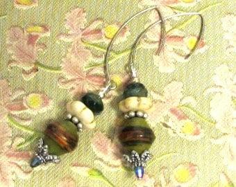 Tribal Drop earrings. African Paper Bead Earring. Czech Glass Earrings. Silver. Handmade.