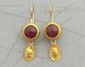 Carnelian Earrings - 24k Solid Gold Earrings - 24 Karat Gold Dangle Earrings