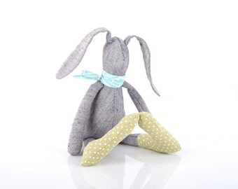 softie plush bunny toy Stuffed SMALL gray bunny, soft cloth bunny rabbit hare ,gift for baby shower girl and boy, in gray blue Sage green