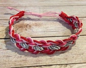 Pink, Red & Silver Bracelet, Braided Bracelet, Valentine's Day Bracelet, Simple Braided Bracelet, Leather Bracelet, Love Bracelet