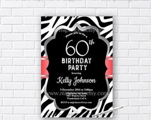 zebra birthday invitation, Animal print design invitation for any age 16th 18th 20th 30th 40th 50th 60th 70th woman - card 903