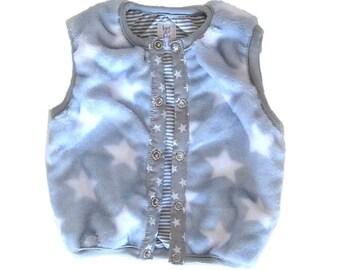 Baby Boy Vest, Faux Fur Vest, Stars and Stripes, Reversible
