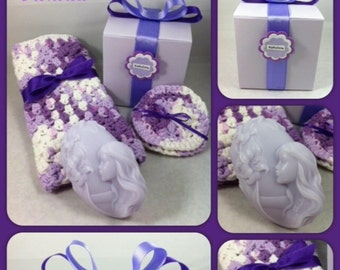 Soap Gift Set  -  Lavender  - Handmade Soap with  Washcloth & Scrubbies