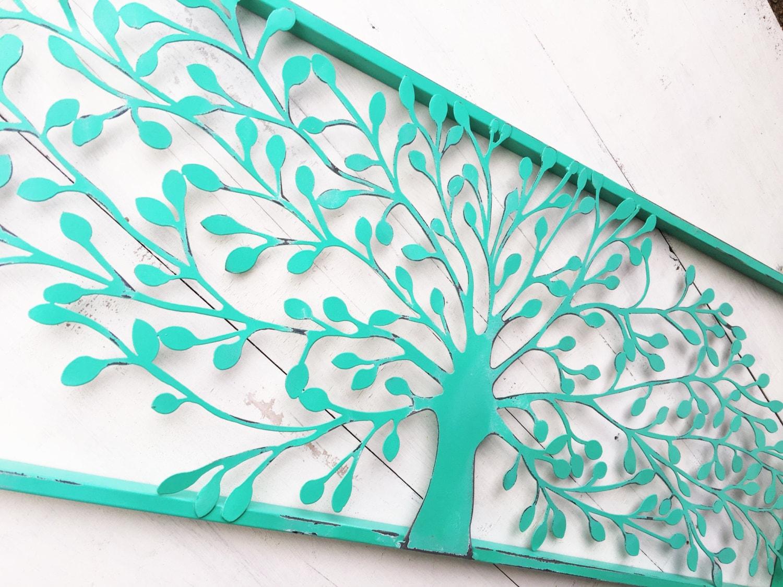 Home decor wall art in ocean teal tree art bathroom wall for Teal wall art