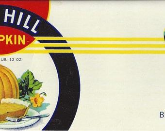 Blue Hill Pumpkin Vintage Can Label, 1930s