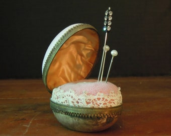 Vintage Pink Enamel Egg Pin Cushion OOAK / Victorian Pink Velvet Fabric Pincushion / Hand Crafted Pin Cushion / Sewing / Up Cycled