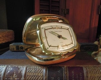 Vintage Phinney Walker Working Alarm Clock / Germany / Camel Color Leather Box Case / Illuminated Hands