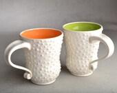 Dottie Mugs Ready To Ship Two White Dottie Coffee Mugs by Symmetrical Pottery